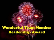 PREMIO AL BLOG: Wonderful Team Member Readership Adward: Maravilloso Miembro del Equipo de lectores Adward